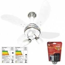Ventilador Sideral 4 Pás Branco/Cromado com Cotrole Remoto