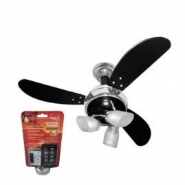 Ventilador Sideral 3 Pás Preto/Cromado com Controle Remoto