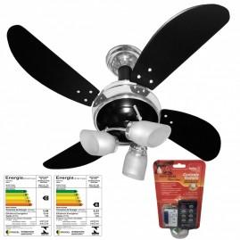 Ventilador Sideral 4 Pás Preto/Cromado com Controle Remoto