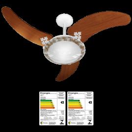 Ventilador Delta Ventus 3 Pás mogno Branco