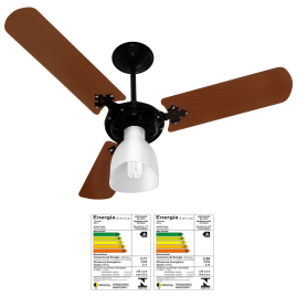 Ventilador Delta Light 3 Pás Mogno Preto - Motor Grande